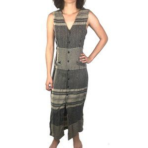 Vintage 90s Striped Button Front Mom Maxi Dress